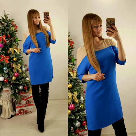 Sidni, casual однотонное платье, синее, миди