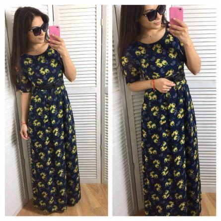 Sidni, синее приталенное платье на лето, casual